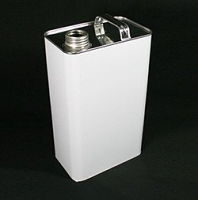 Non lacquered Rectangular Tin With Screw Cap, 5 Litre - White