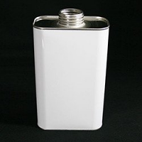 Non lacquered Rectangular Tin With Screw Cap, 1 Litre - White